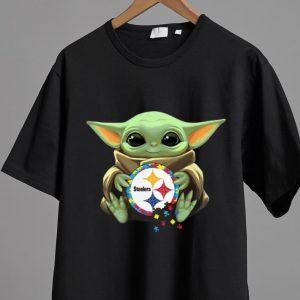 Premium Star Wars Baby Yoda Hug Pittsburgh Steelers Autism shirt