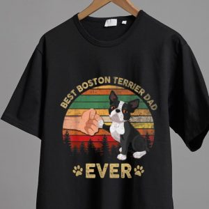 Awesome Best Boston Terrier Dad Ever Vintage Father's Day shirt
