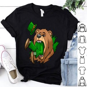 Beautiful Bear Eating Leprechaun St Patrick's Day Boys Girls shirt