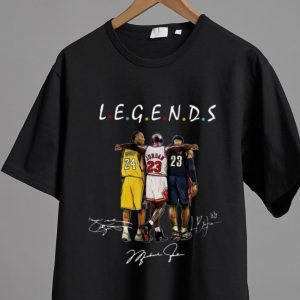 Premium Kobe Bryant Michael Jordan and LeBron James Legends Friends Signatures shirt 1