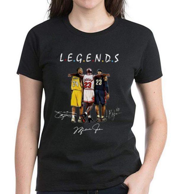 Premium Kobe Bryant Michael Jordan and LeBron James Legends Friends Signatures shirt