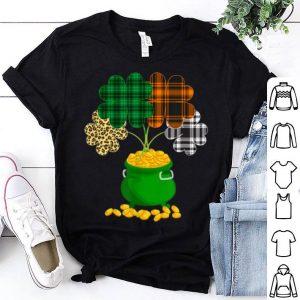 Pretty Green Orange White Leopard Plaid Shamrock St Patrick's Day shirt