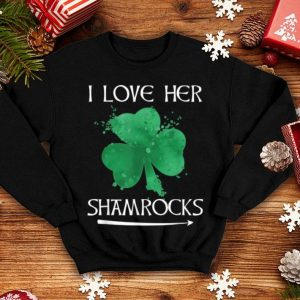 Awesome Funny Couples St. Patty's Day I Love Her Shamrocks shirt