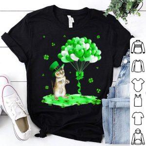 Original Cat Leprechaun Hat Shamrock Heart Balloons St Patrick's Day shirt