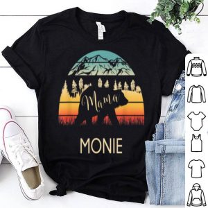 Original Monie Name Gift Retro Sun Personalized Mama Bear shirt