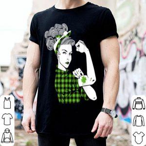 Original St Patricks Day Rosie The Riveter Women Irish Shamrock Girl shirt
