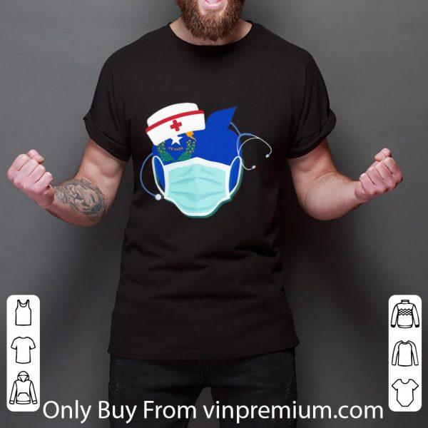 Awesome Apple Nurse Stethoscope Nevada Flag Covid-19 shirt