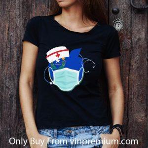 Awesome Apple Nurse Stethoscope Nevada Flag Covid-19 shirt 2
