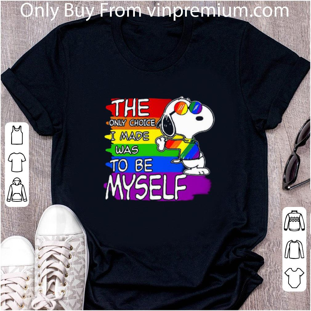 Great Lgbt Flag Rainbow Snoopy The Only Choice I Made Was To Be Myself shirt
