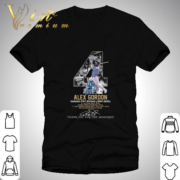 Alex Gordon 4 Kansas City Royals 2007-2020 thank you for the memories shirt