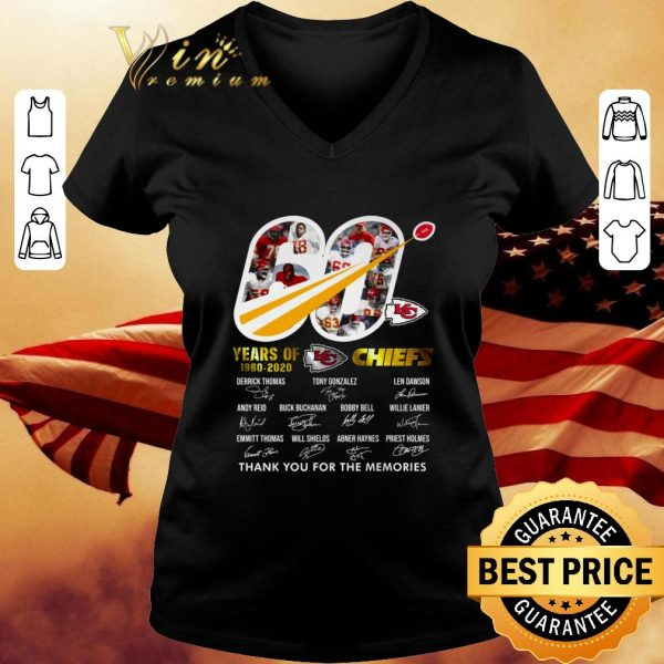 Awesome 60 years of 1960-2020 KC Chiefs thank you for the memories shirt