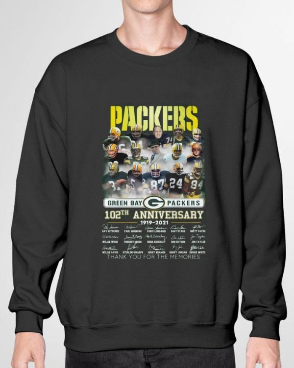 Awesome Coach Team Green Bay Packers 102th Anniversary 1919-2021 Signatures shirt