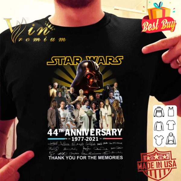 Awesome All character Star Wars 44th Anniversary 1977-2021 Signatures shirt