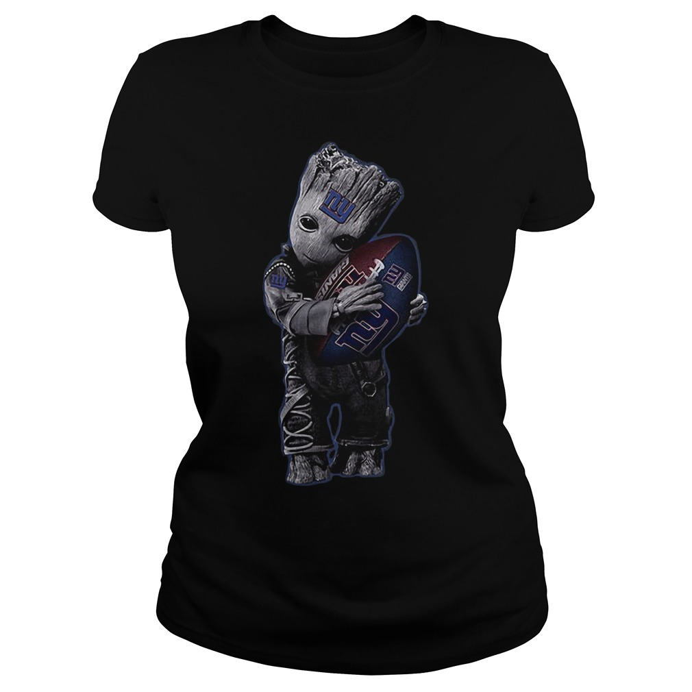 Baby Groot Hug New York Giants Football NFL T-Shirt Classic Ladies Tee