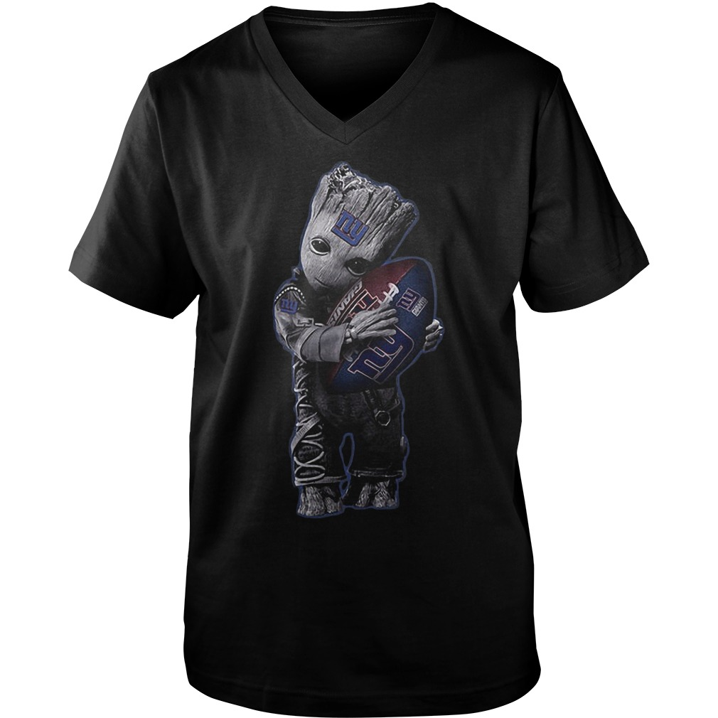 Baby Groot Hug New York Giants Football NFL T-Shirt Guys V-Neck