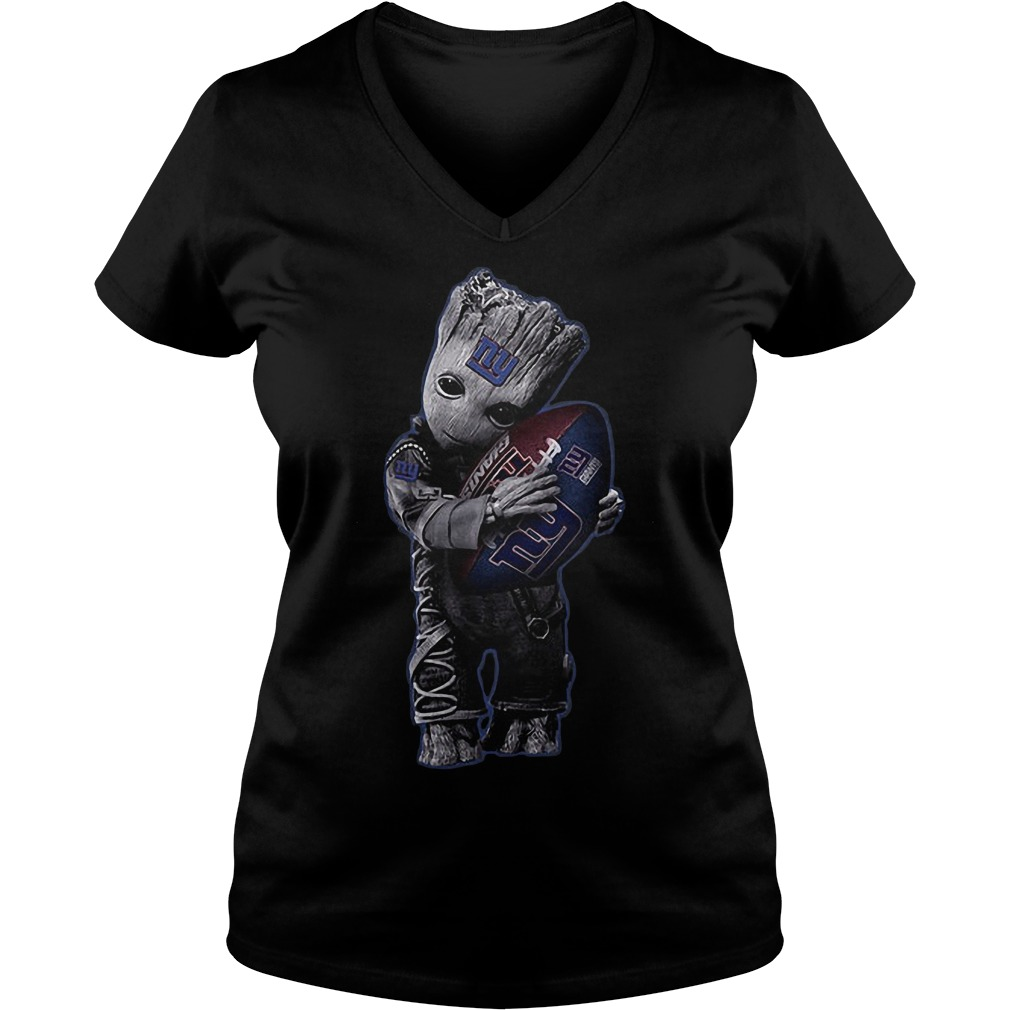 Baby Groot Hug New York Giants Football NFL T-Shirt Ladies V-Neck