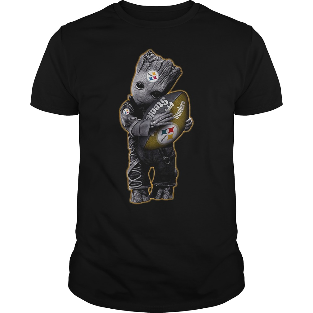 Baby Groot Hug Pittsburgh Steelers Football NFL T-Shirt Classic Guys / Unisex Tee