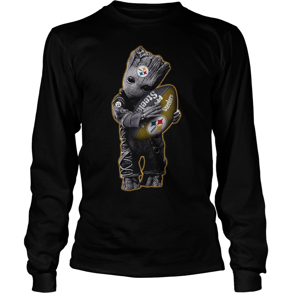 Baby Groot Hug Pittsburgh Steelers Football NFL T-Shirt Longsleeve Tee Unisex