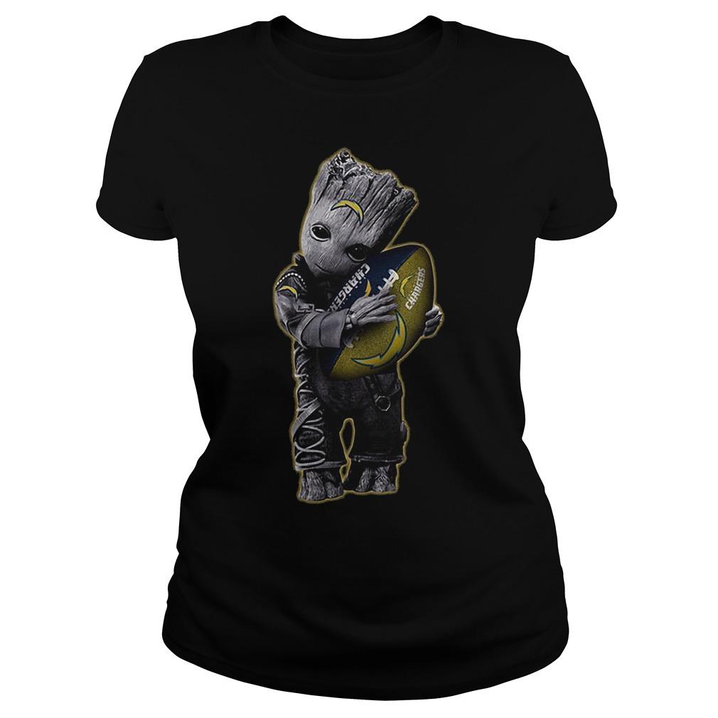 Baby Groot Hug San Diego Chargers Football NFL T-Shirt Classic Ladies Tee