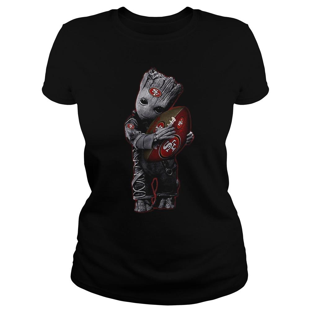 Baby Groot Hug San Francisco 49ers Football NFL T-Shirt Classic Ladies Tee