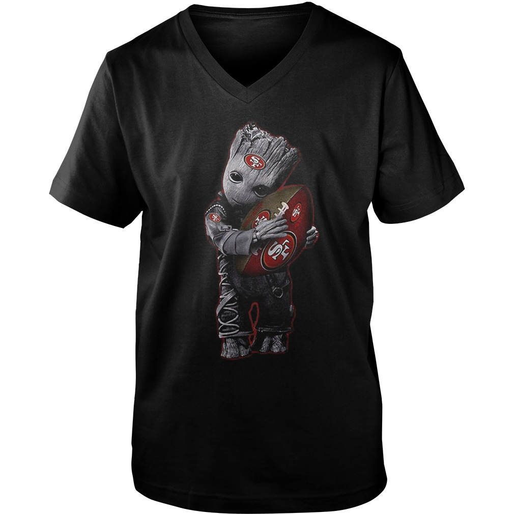 Baby Groot Hug San Francisco 49ers Football NFL T-Shirt Guys V-Neck