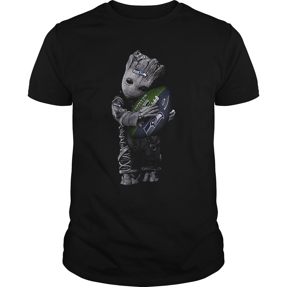 Baby Groot Hug Seattle Seahawks Football NFL T-Shirt