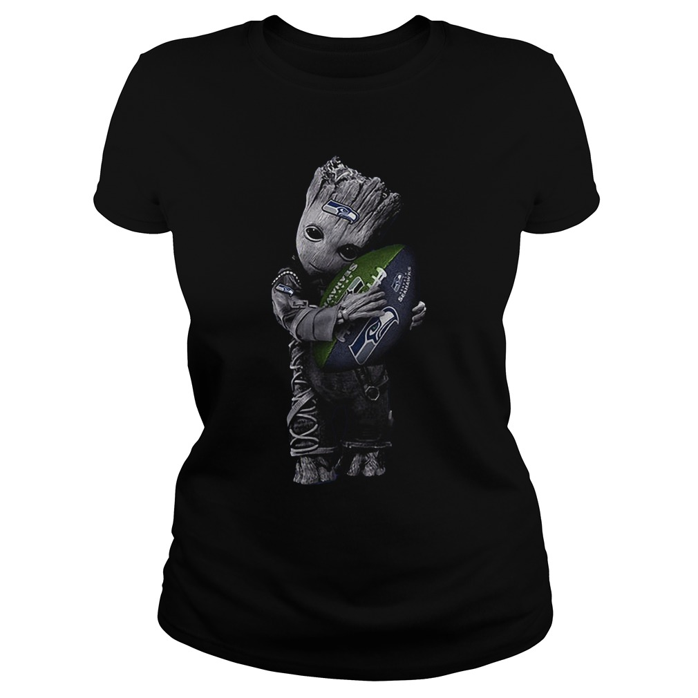 Baby Groot Hug Seattle Seahawks Football NFL T-Shirt Classic Ladies Tee