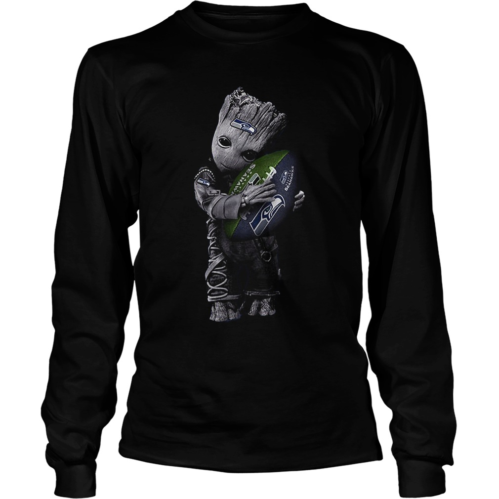 Baby Groot Hug Seattle Seahawks Football NFL T-Shirt Longsleeve Tee Unisex