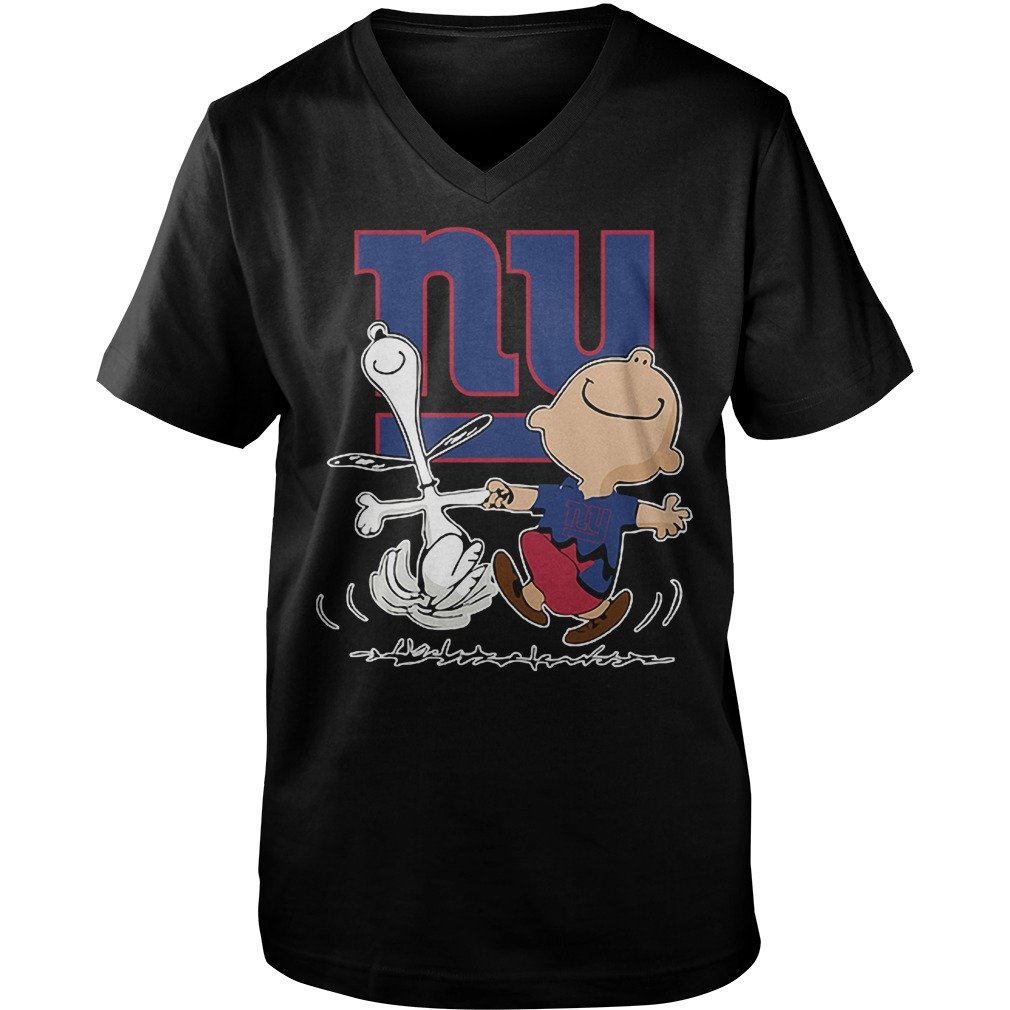 Charlie Brown And Snoopy: New York Giants T-Shirt Guys V-Neck