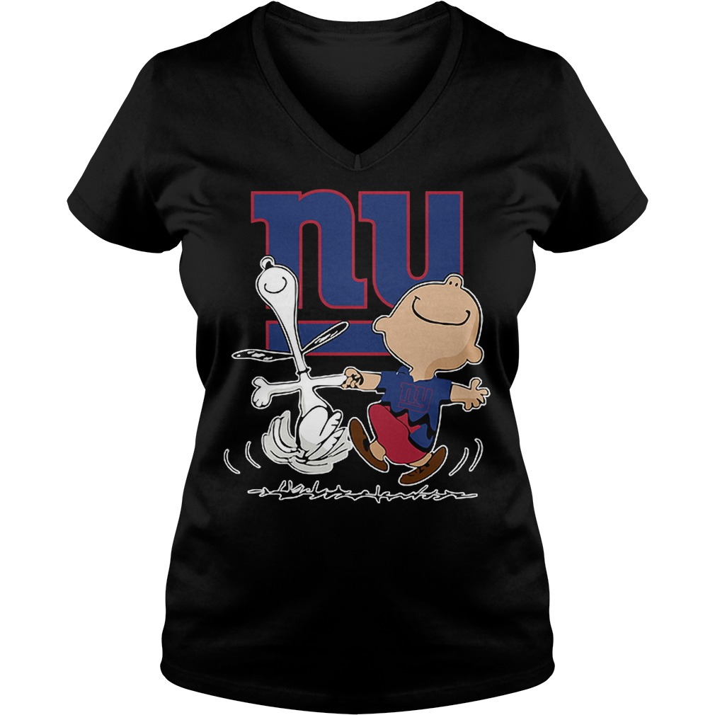 Charlie Brown And Snoopy: New York Giants T-Shirt Ladies V-Neck