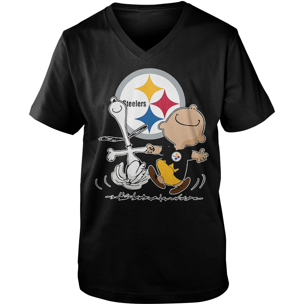 Charlie Brown And Snoopy: Pittsburgh Steelers T-Shirt Guys V-Neck