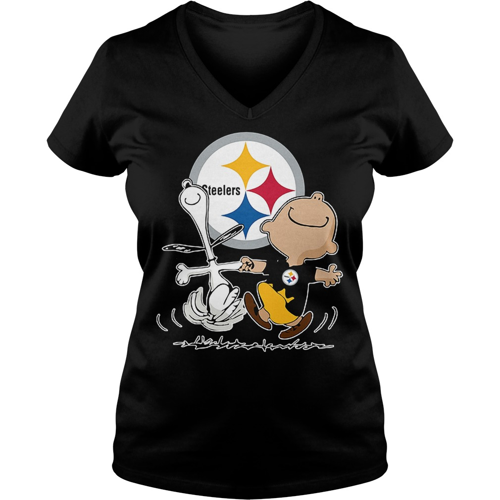 Charlie Brown And Snoopy: Pittsburgh Steelers T-Shirt Ladies V-Neck