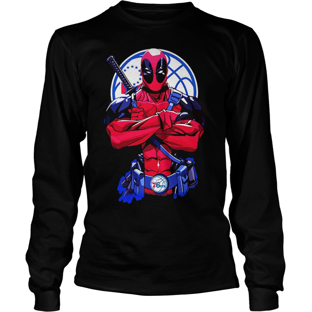 107072 1540886079773 Gildan Lon Black  w97  front - Giants Deadpool Philadelphia 76ers shirt
