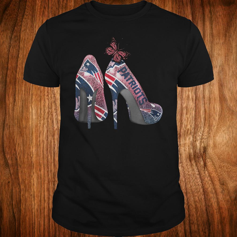 Butterfly Heel Rhinestones New England Patriots Nfl Shirt