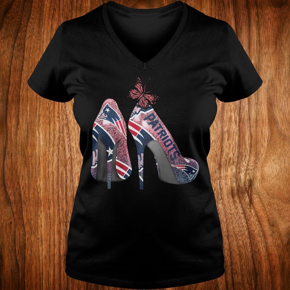 Butterfly Heel Rhinestones New England Patriots Nfl Shirt Ladies V-Neck