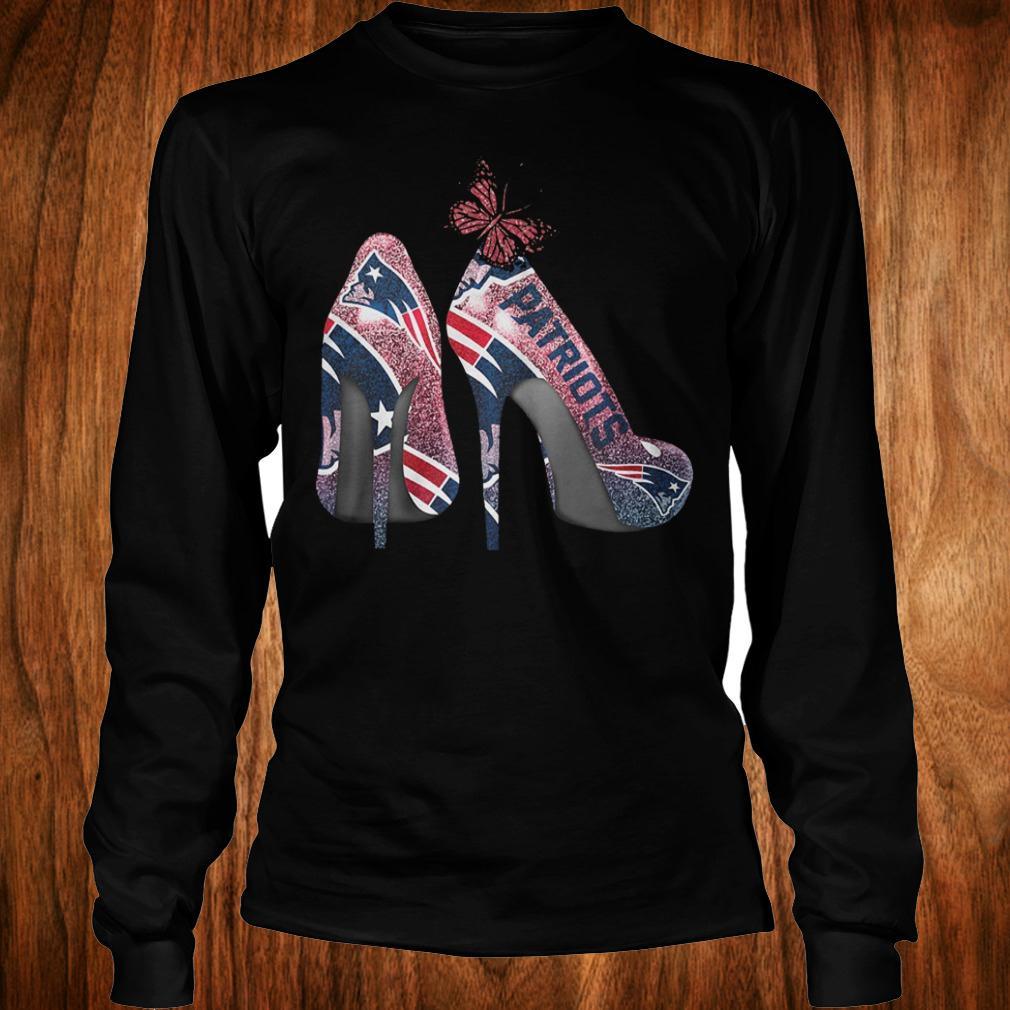 Butterfly Heel Rhinestones New England Patriots Nfl Shirt Longsleeve Tee Unisex