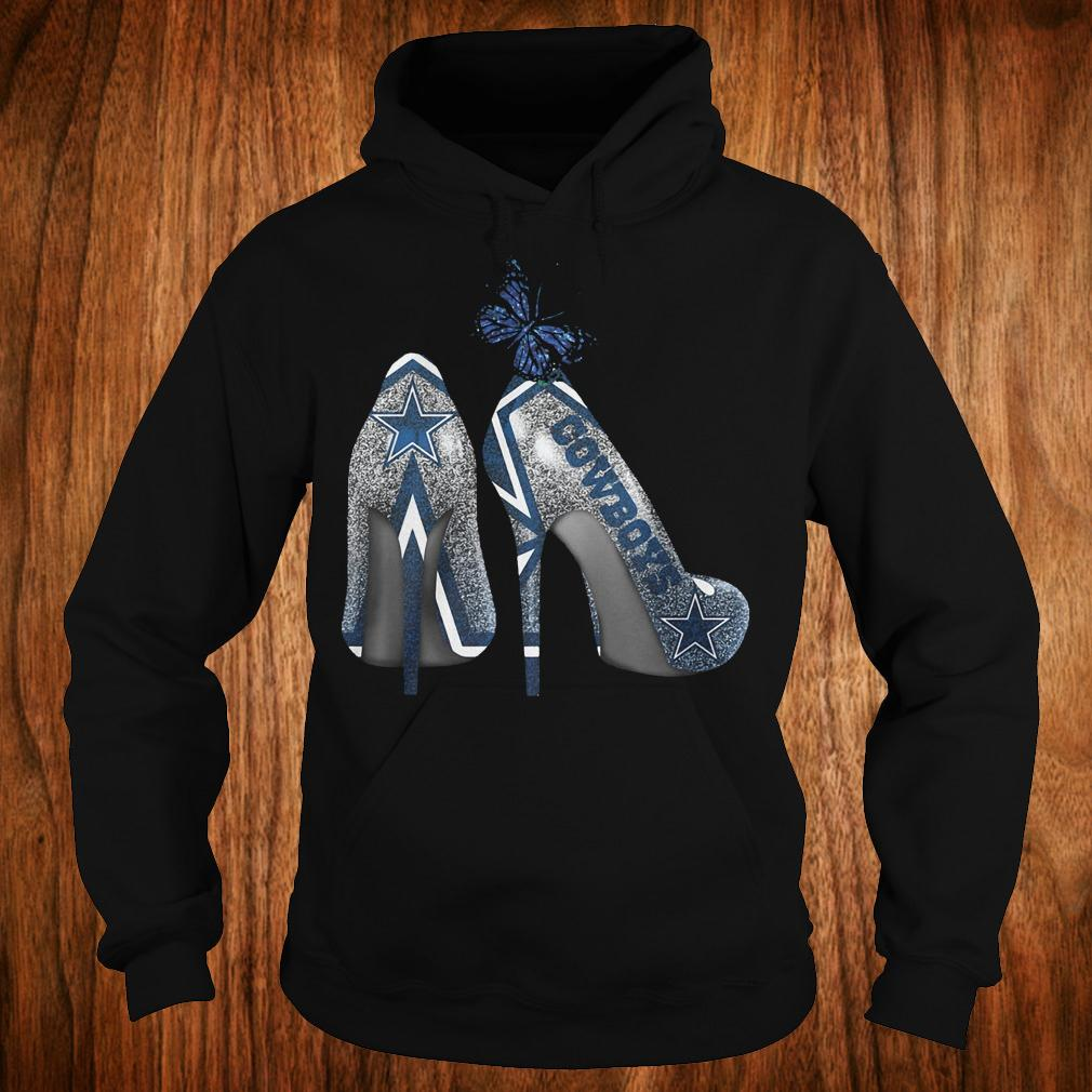 Butterfly Rhinestone heel Dallas Cowboys Nfl Shirt Hoodie