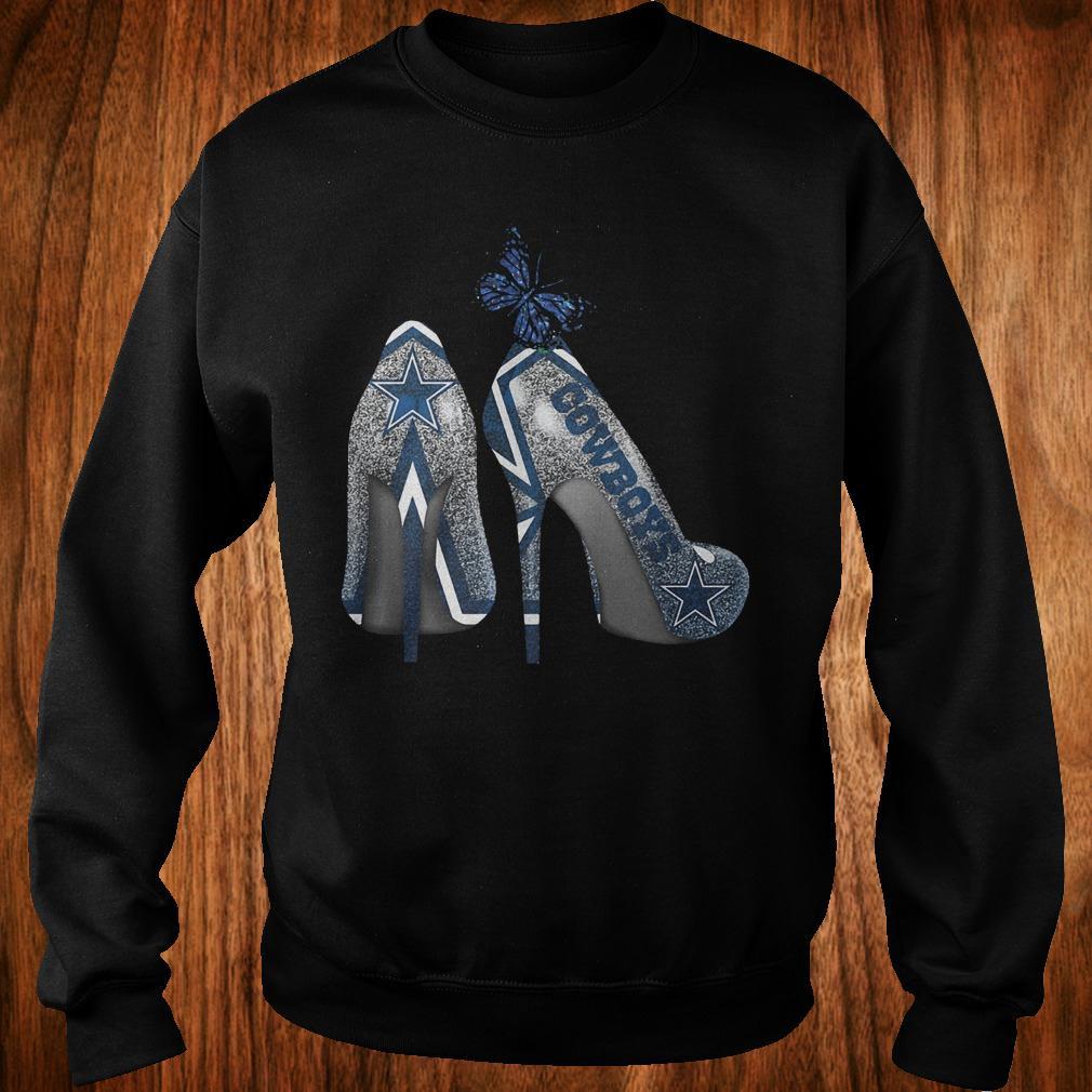 Butterfly Rhinestone heel Dallas Cowboys Nfl Shirt Sweatshirt Unisex