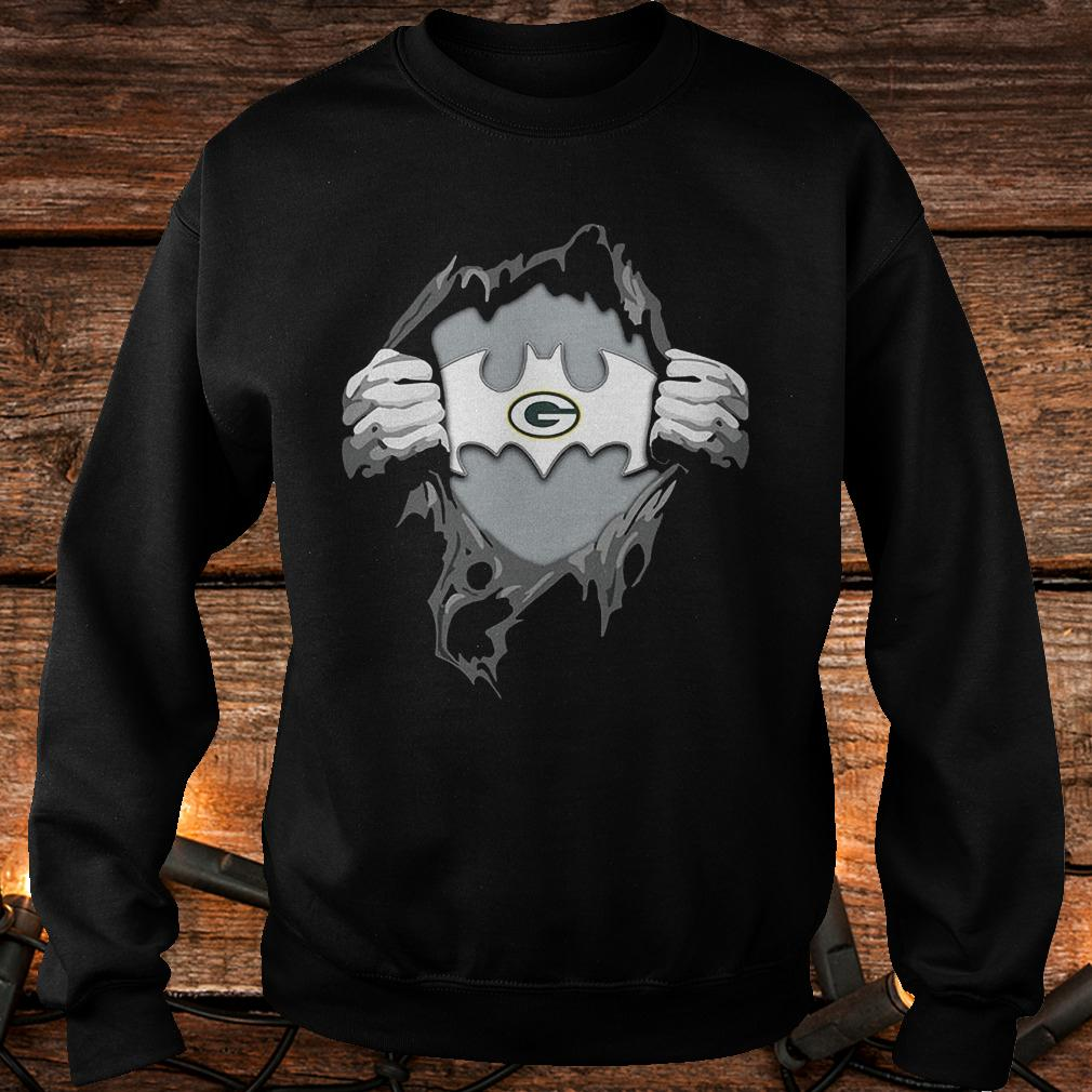 Green Bay Packers ripping tearing through logo Batman shirt