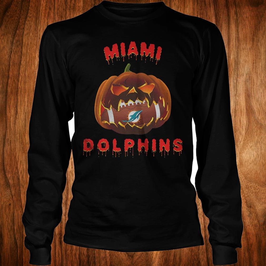 Halloween Pumpkin Miami Dolphins NFL Shirt Longsleeve Tee Unisex