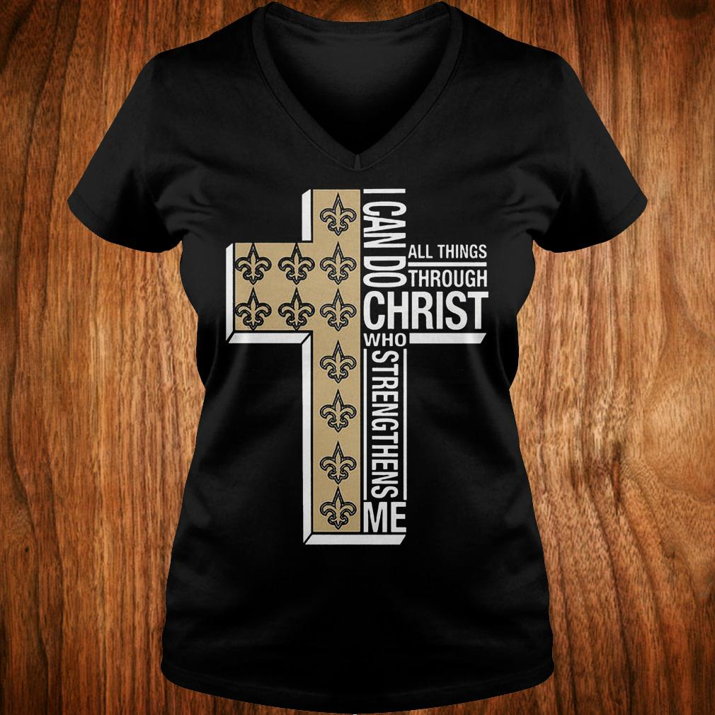 New Orleans Saints i can do all thing through christ who strengthens me shirt Ladies V-Neck