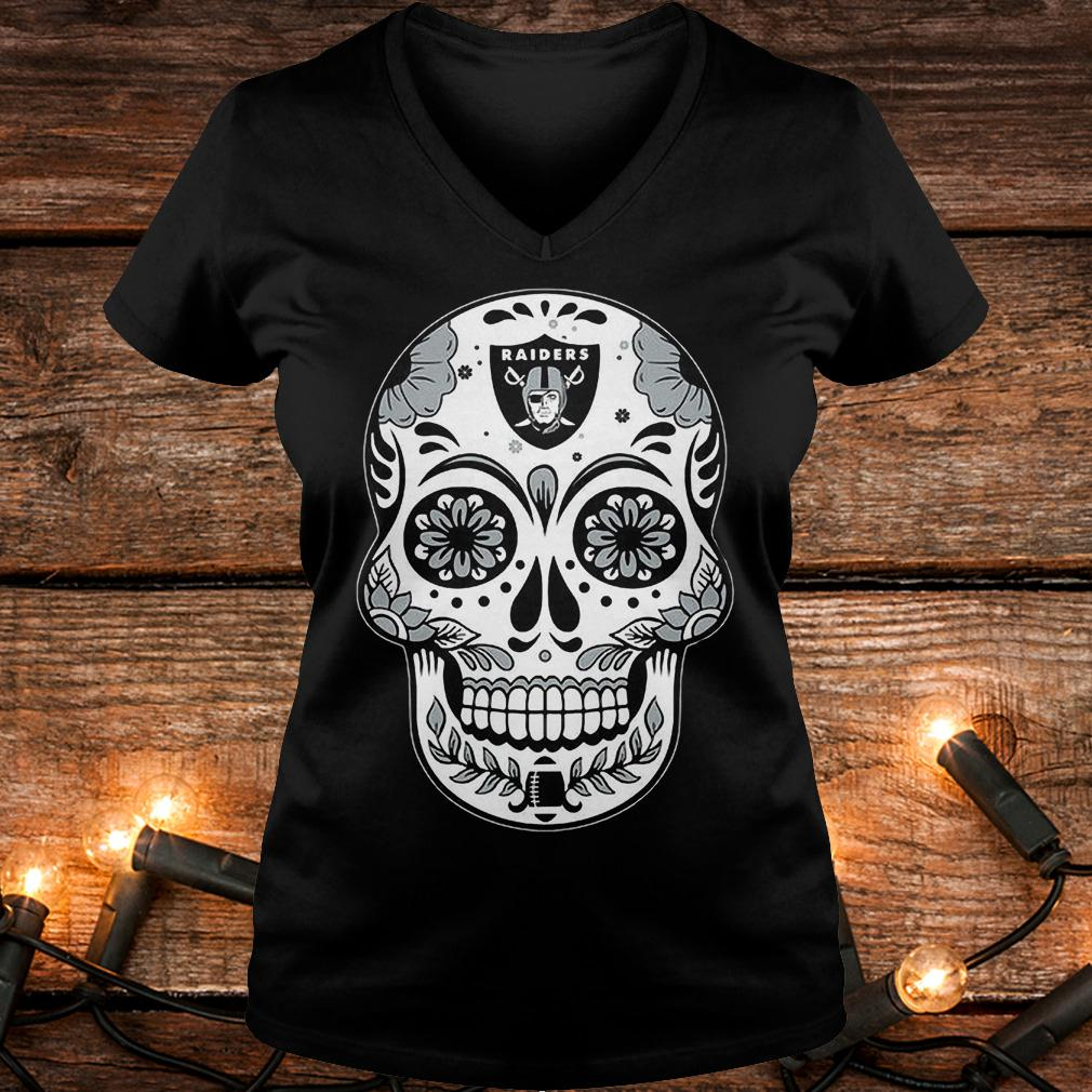 Oakland Raiders sugar skull shirt Ladies V-Neck