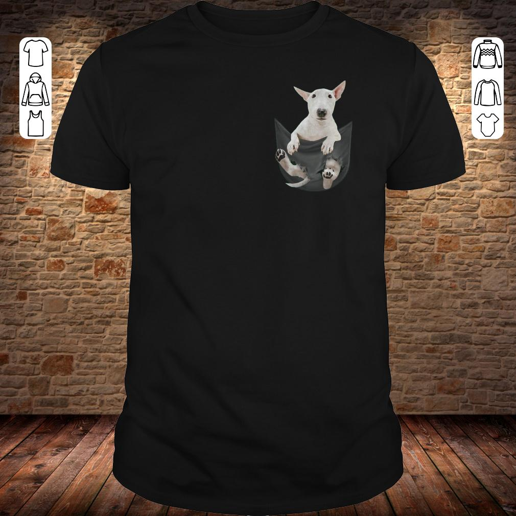 Bull Terrier inside black Tiny Pocket shirt