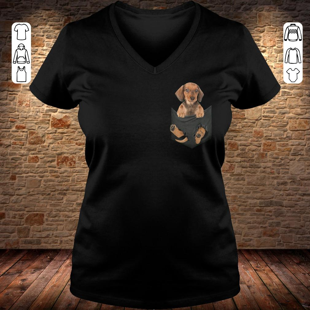 Dachshund in Tiny Pocket shirt Ladies V-Neck