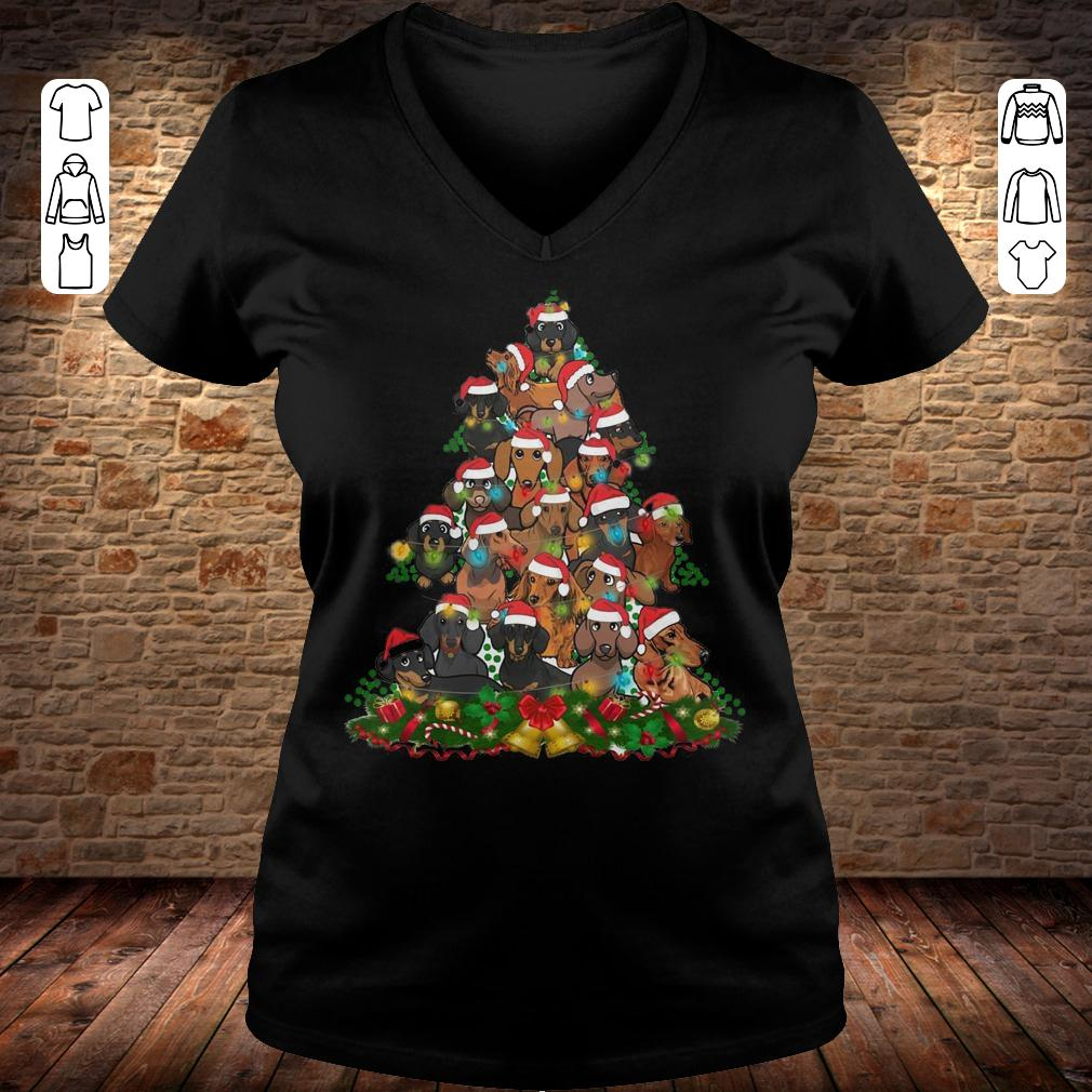 Dachshunds Christmas Tree Ladies V-Neck