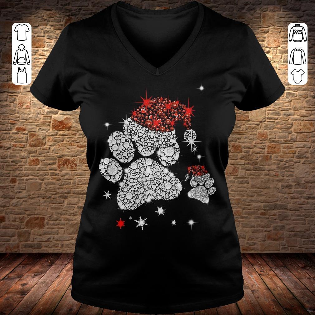Dog Footprint Santa Hat shirt Ladies V-Neck