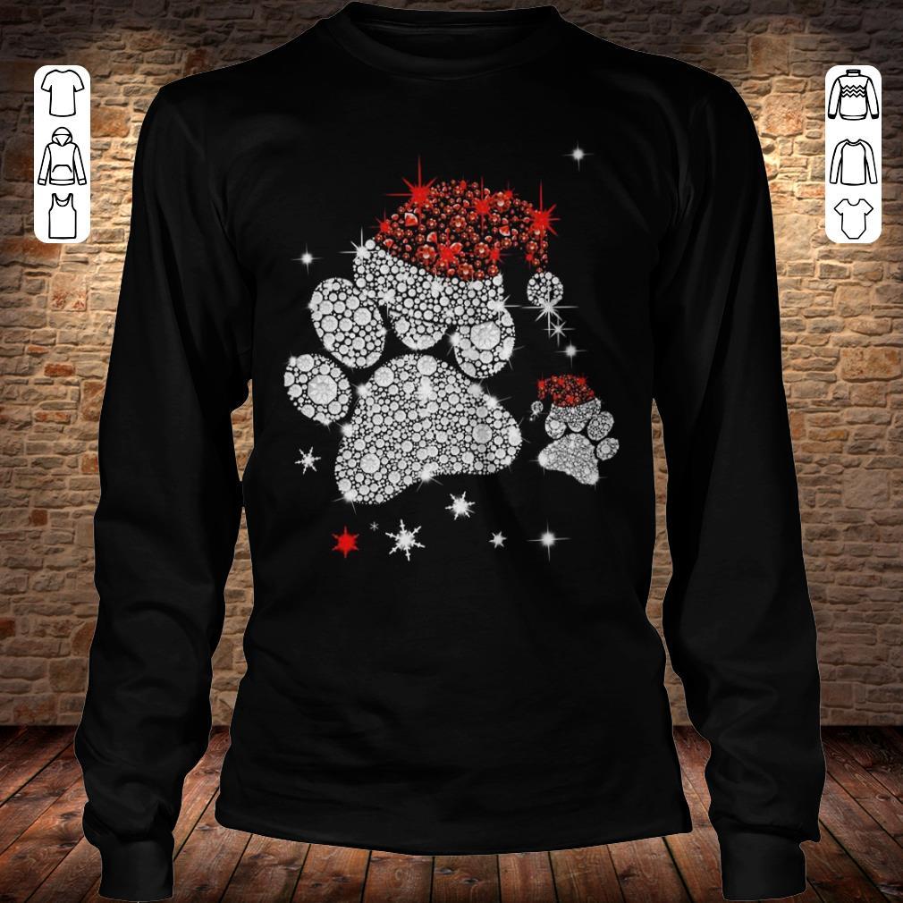 Dog Footprint Santa Hat shirt Longsleeve Tee Unisex