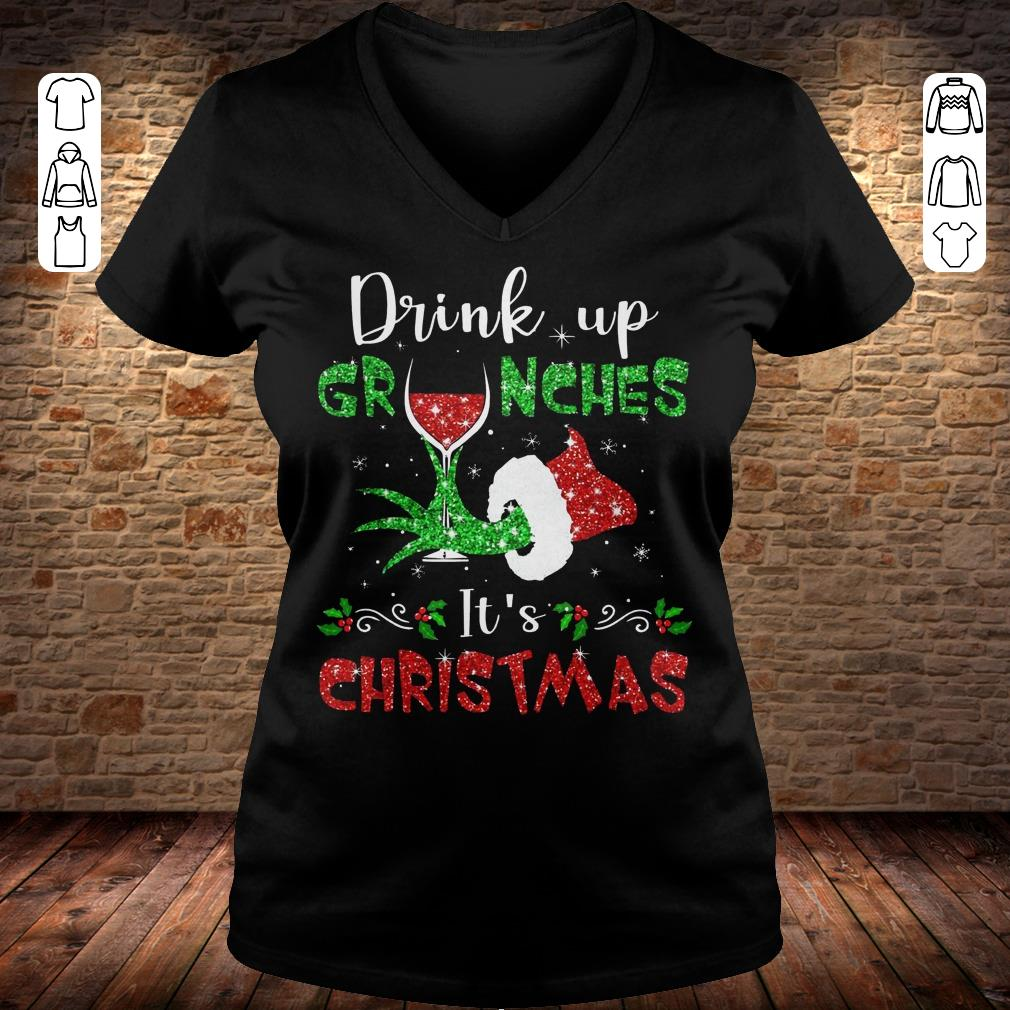 Drink up grinches Wine It's Christmas shirt Ladies V-Neck