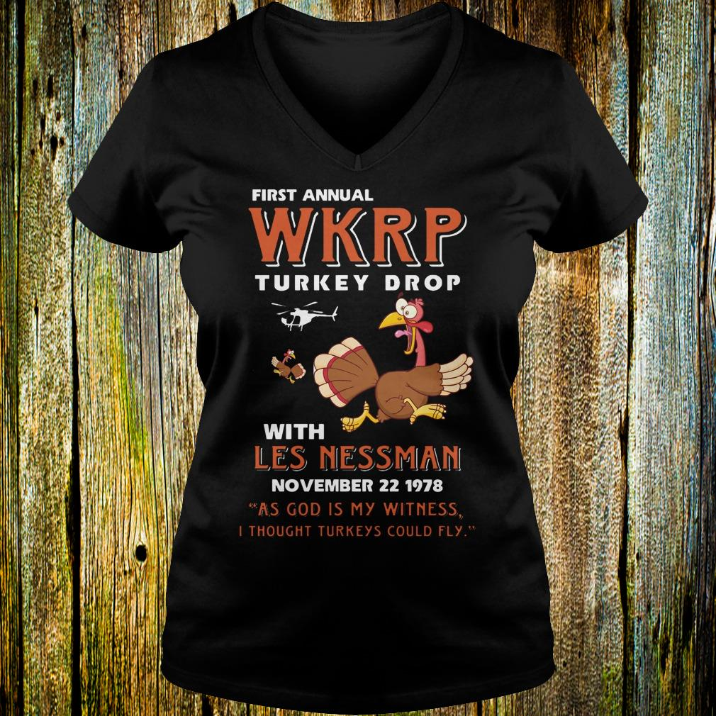 First Annual WKRP Turkey drop with les nessman shirt Ladies V-Neck