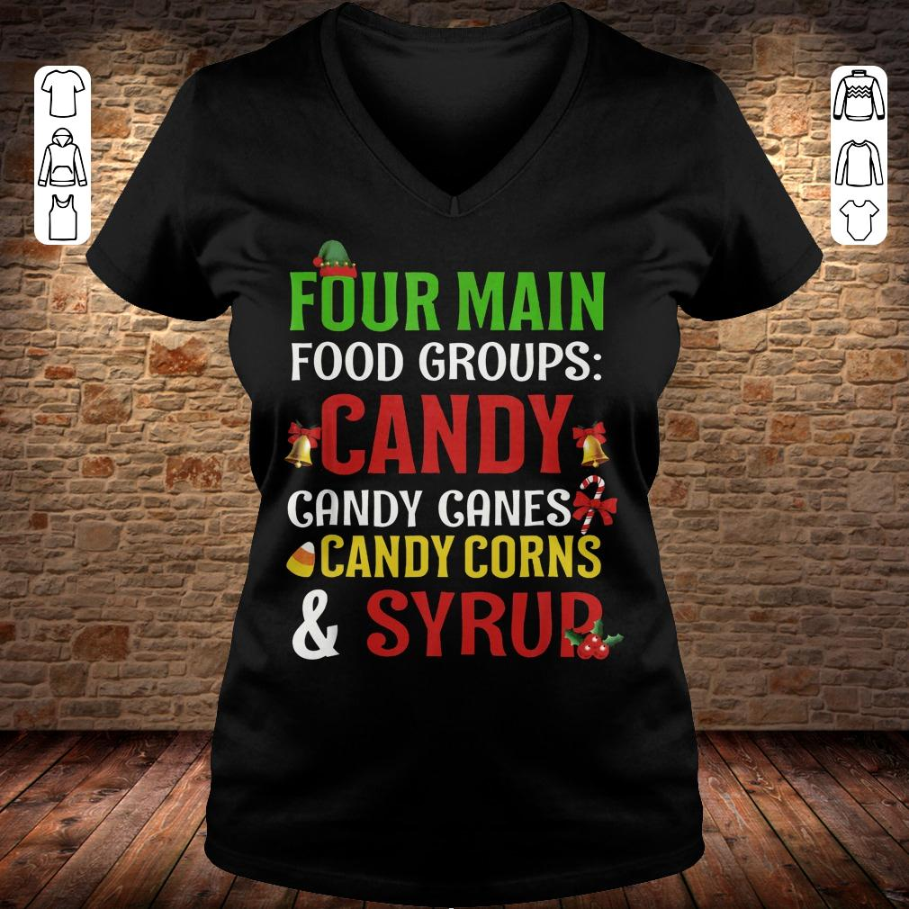 Four Main Food Groups candy canes corns syrup shirt Ladies V-Neck